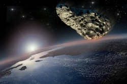 54353580 - asteroid on a collision course with earth.